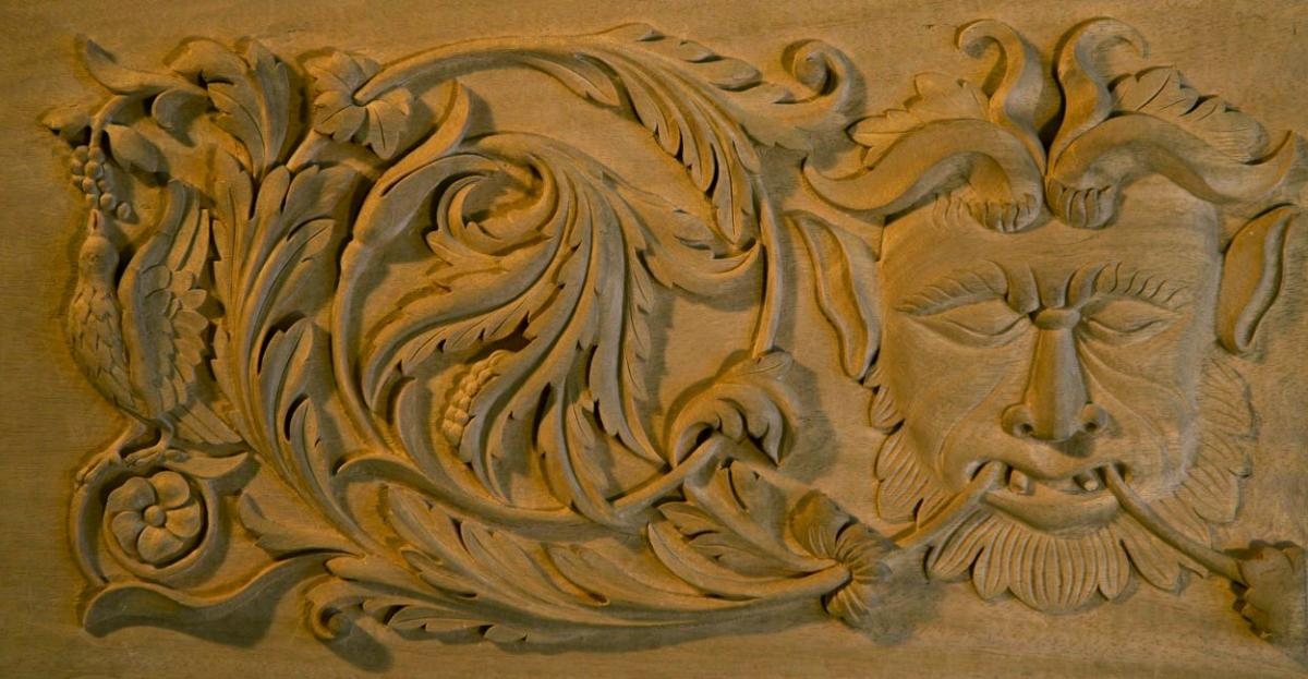 "Agrell Architectural Carving: Hand carved Renaissance panel with a ""Green Man"""