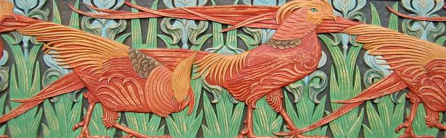 Agrell Carving: Art Nouveau golden pheasants. Design by Verneuil circa 1890.