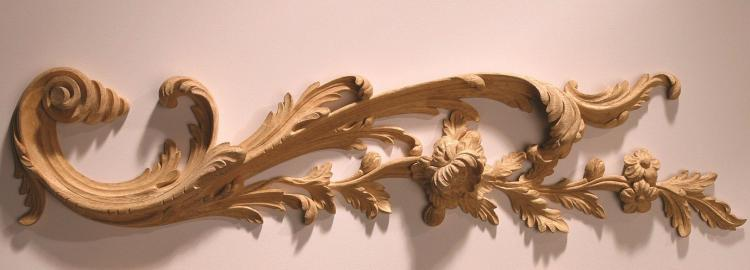 Agrell Carving: Hand carved acanthus and flowers. English circa 1750.