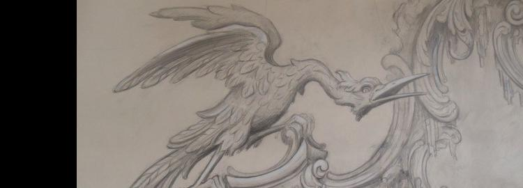 Agrell Carving: Design. Hoho bird Rococo chimney piece. Getty, San Francisco.
