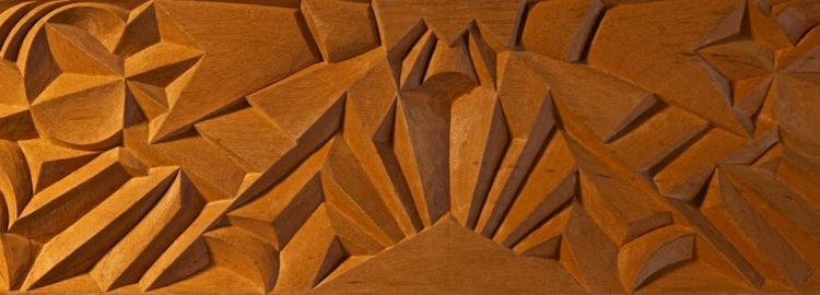 Agrell Carving: Art Deco hand carved panel. Design Joel and Jan Martel. 1925.