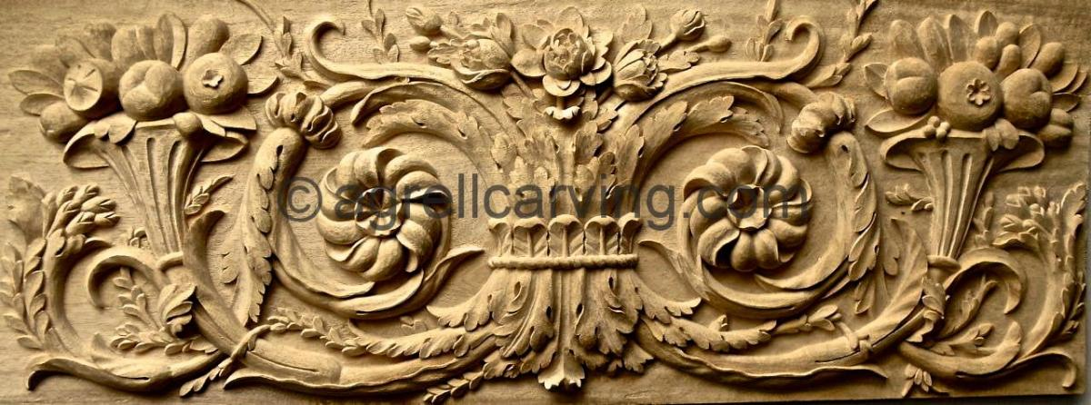 Agrell Architectural Carving French hand carved panel copy of Versaille