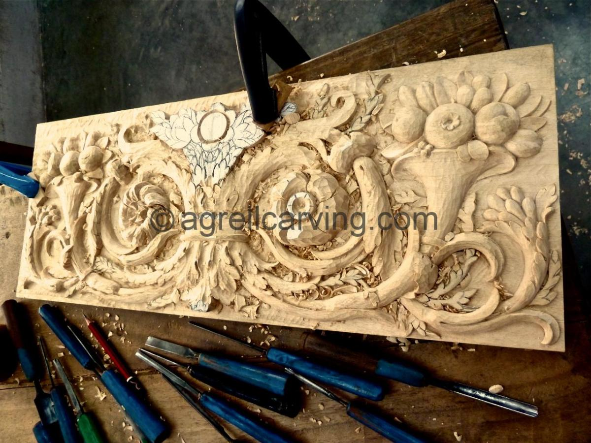 Agrell Architectural Carving French hand carved panels in progress copy of Versaille
