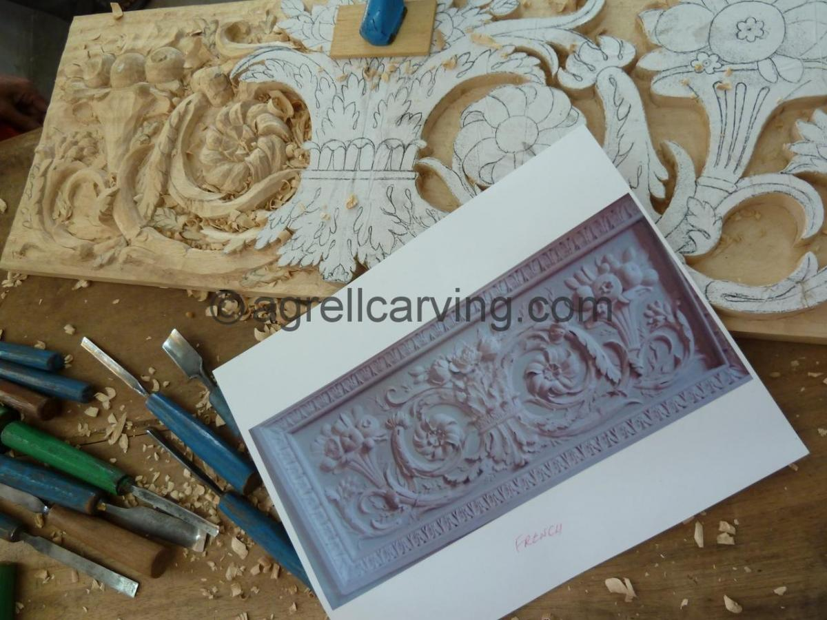 Agrell Architectural Carving French hand carved panel in progress copy of Versaille